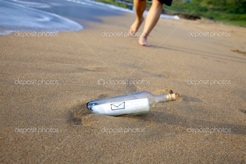 Mail in a bottle on the beach