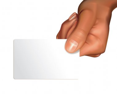 Hand with blanc card
