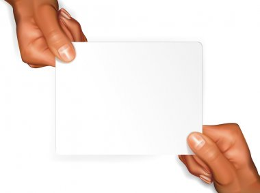 Hands with blanc card