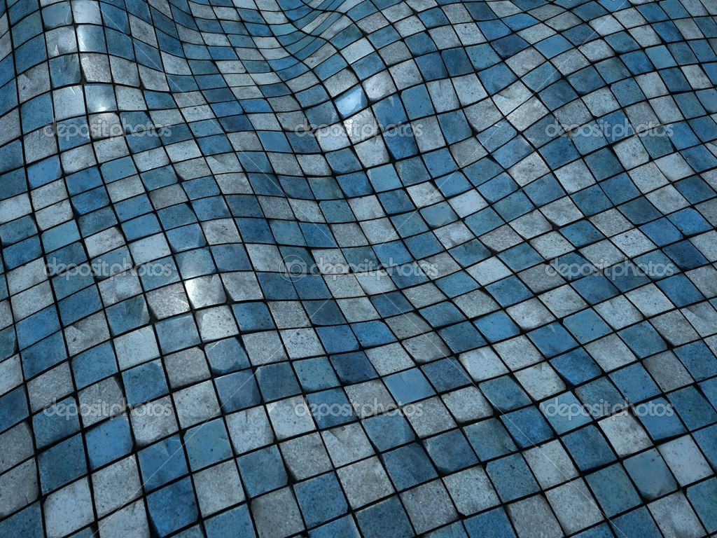 3d render blue wobble mosaic tile floor wall surface — Stock Photo ...