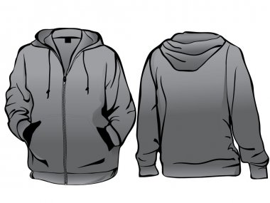Jacket or sweatshirt template with zipper