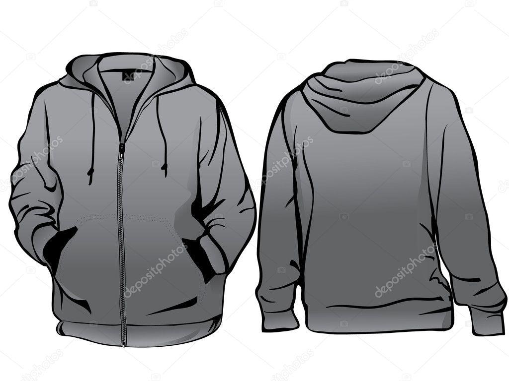 Vorlage für Jacke oder Sweatshirt mit Reißverschluss — Stockvektor ...