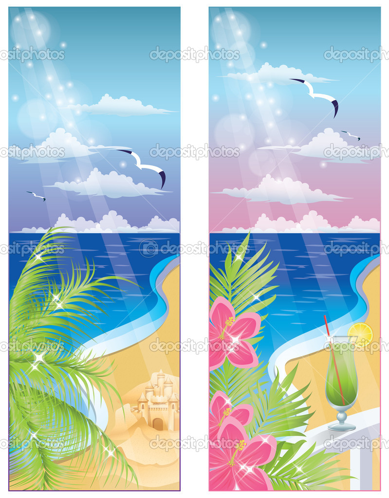 Summer banners, vector illustration