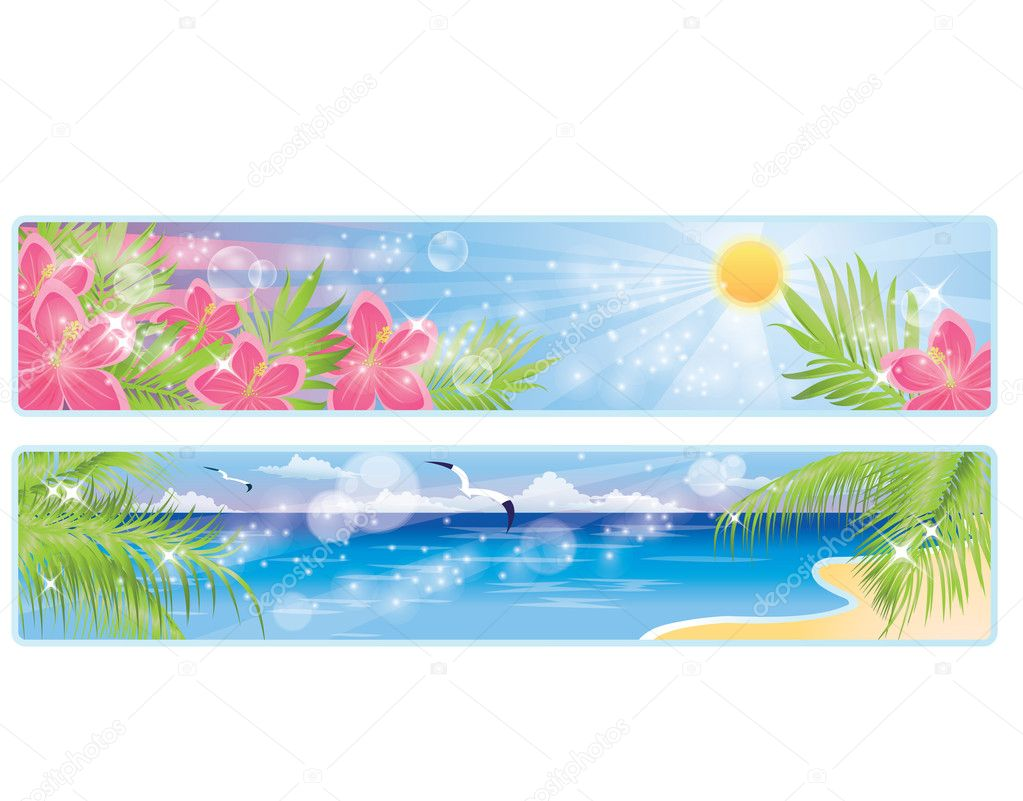 Summer tropical banners, vector illustration