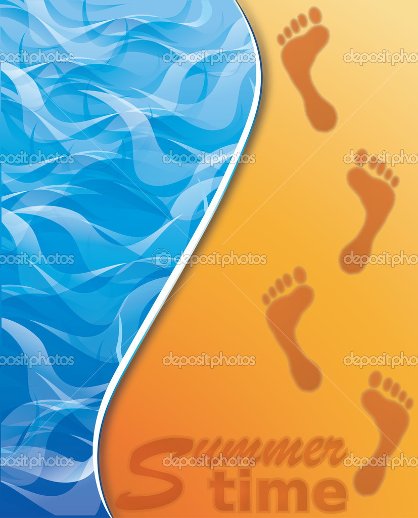 Summer time banner. Footstep on the Beach Sand. vector
