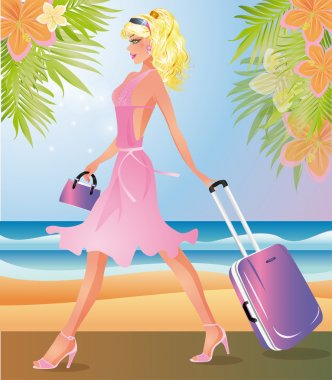 Blondie Girl with travel bag, vector illustration