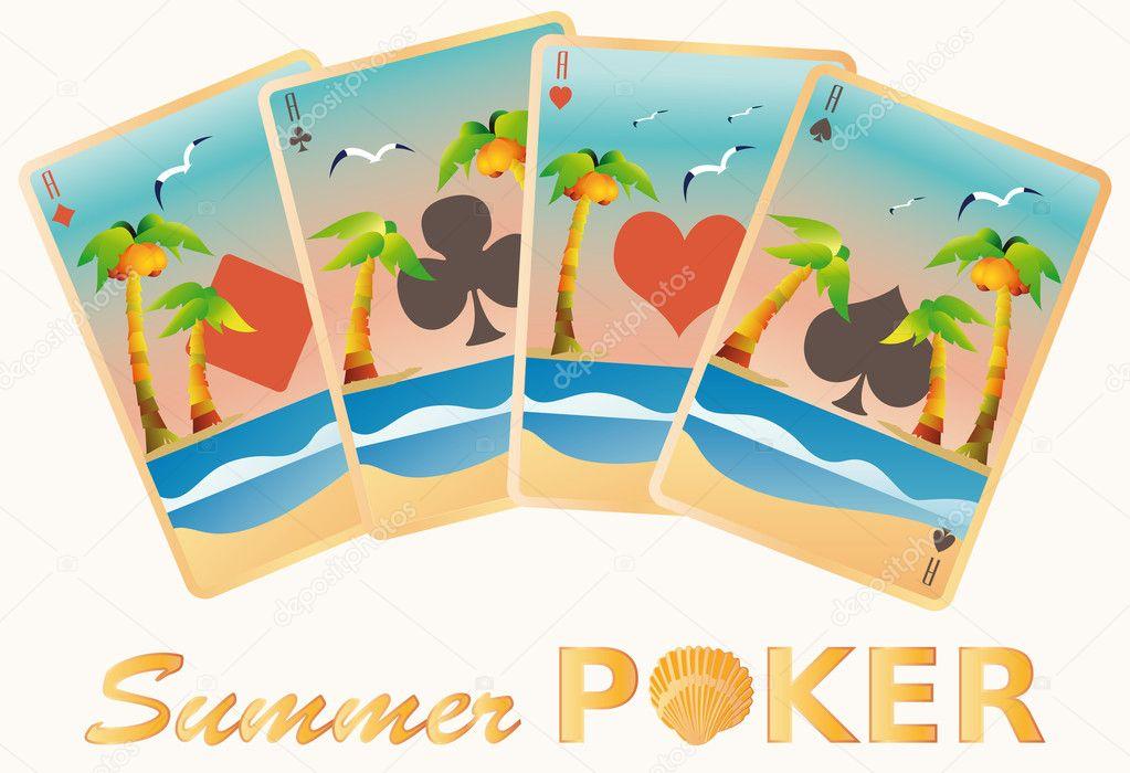 Summer poker cards, vector illustration