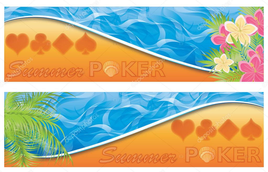 Summer poker banners. vector illustration