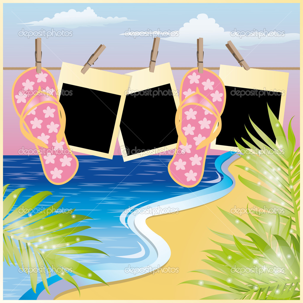 Summer beach card with photo frame, vector illustration