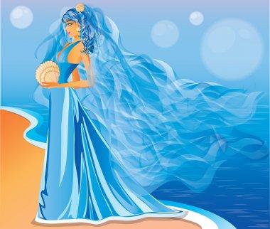 Marine bride, vector illustration