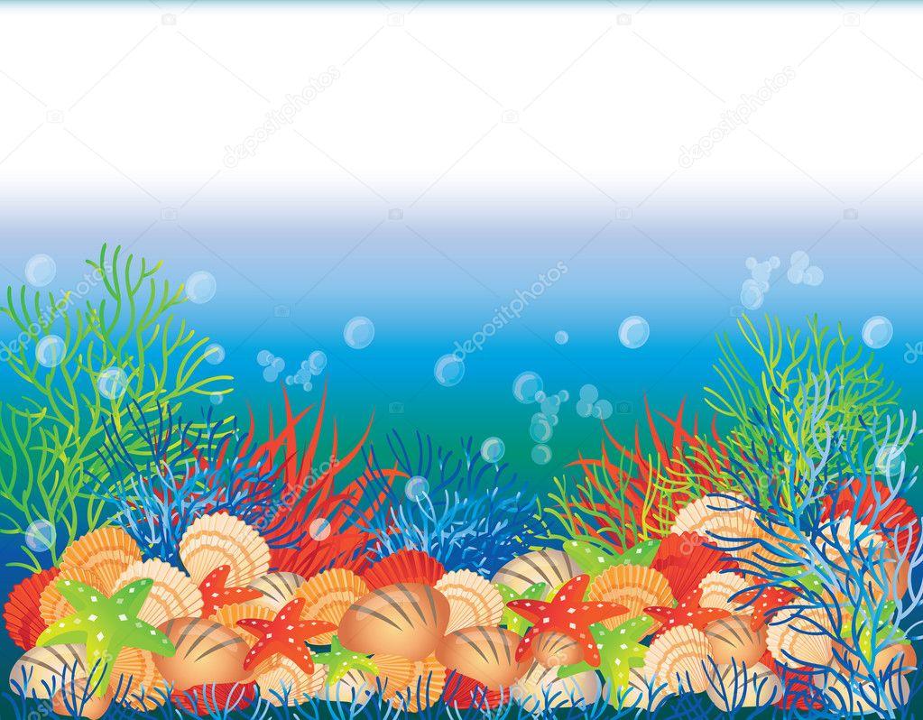Underwater banner, vector illustration