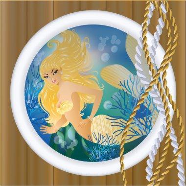 Gold Mermaid in porthole. vector illustration