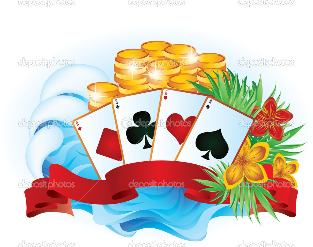 Tropical summer poker. vector illustration