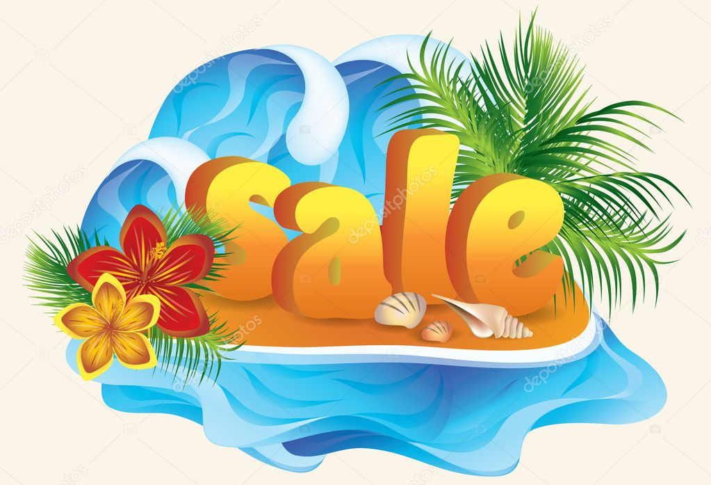 Tropical sale card, vector illustration