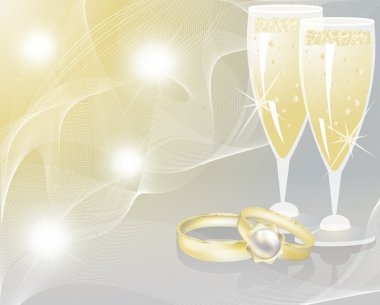 Wedding rings and two glasses of champagne. vector illustration