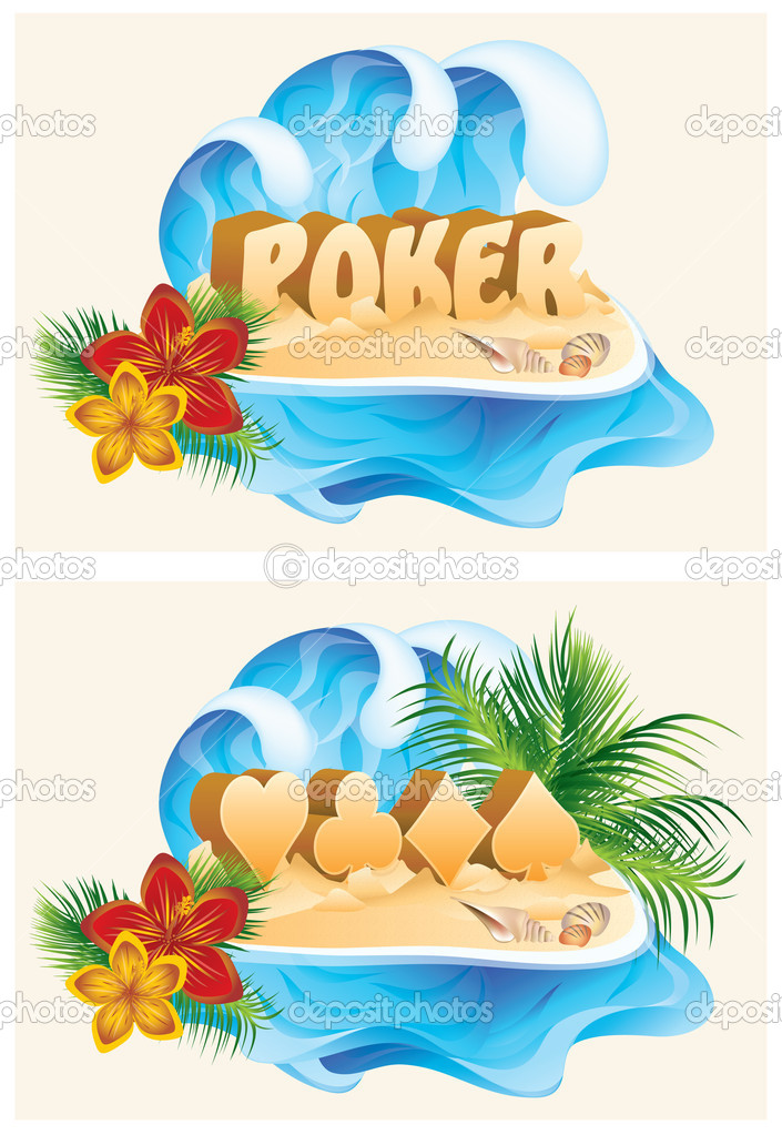 Tropical poker banners, vector illustration
