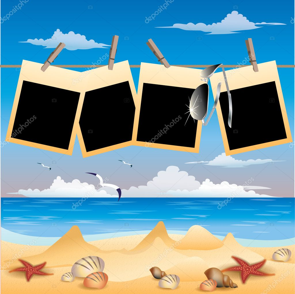 Summer beach background with photo frame, vector illustration