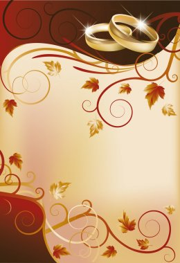 Autumn wedding invitation card, vector illustration