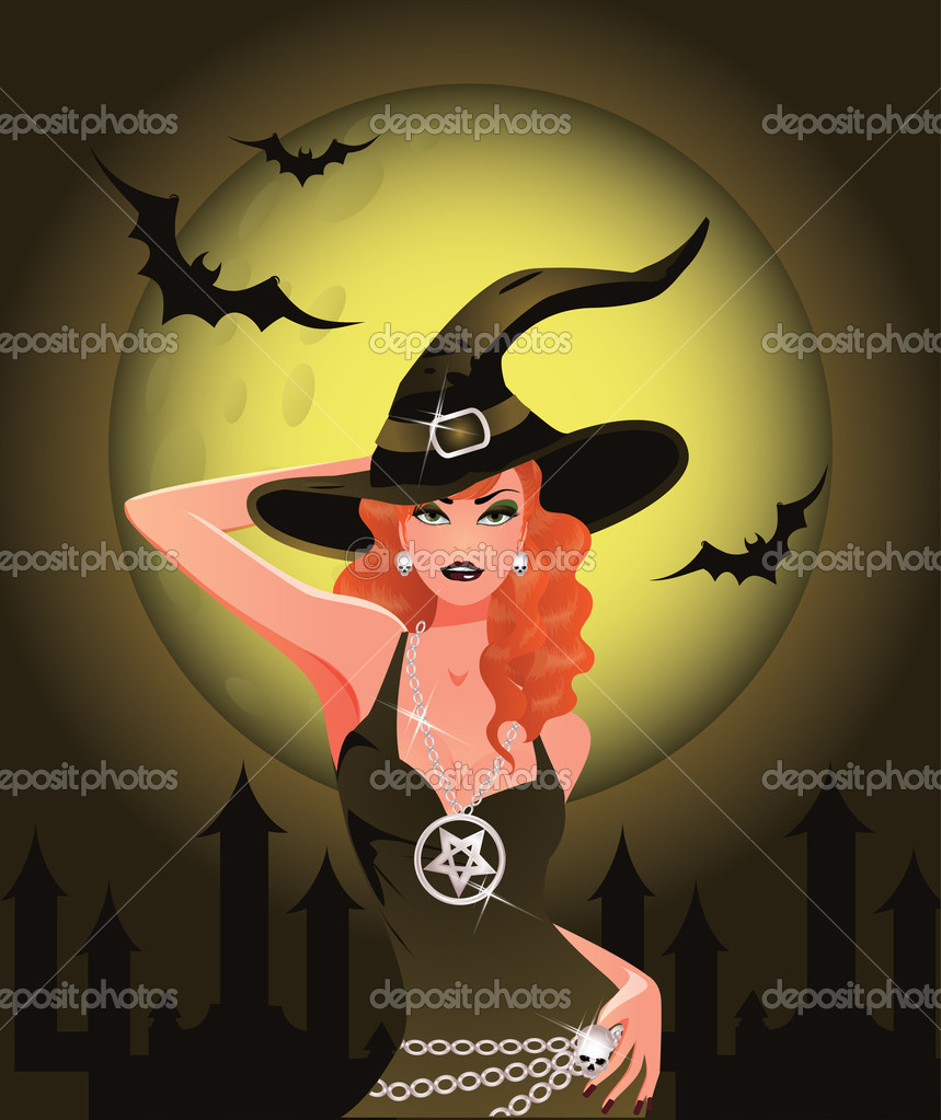 Sexy Halloween Witch girl, vector illustration