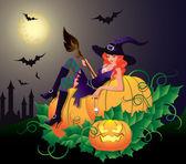 Fotografie Halloween-Nacht-Karte mit sexy Hexe, Vektor-illustration