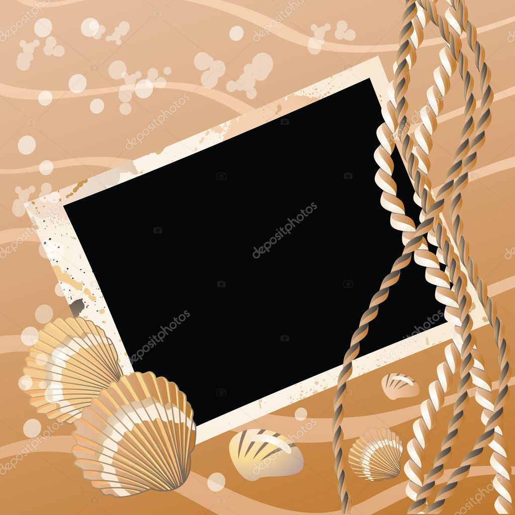 Photo frame with seashell, vector illustration