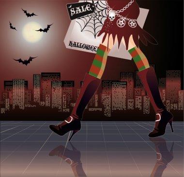 Halloween shopping, vector illustration