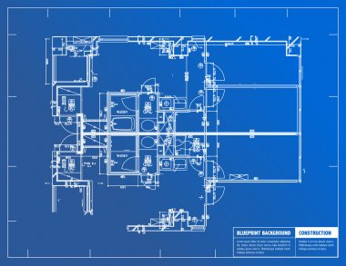 Sample of architectural blueprints over a blue background stock vector