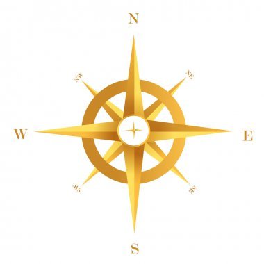 Gold compass isolated on white