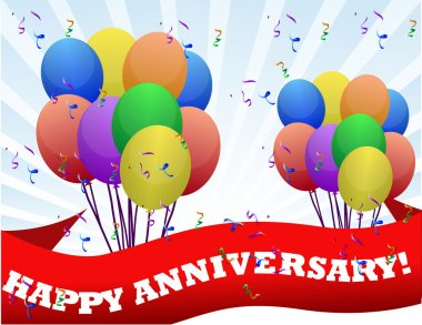 Happy anniversary balloons and banner illustration design