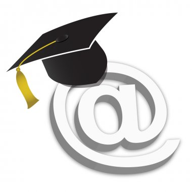 Online Education Degrees Grad Hat illustration isolated over a white backgr