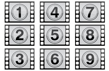 Highly detailed film countdown numbers. (one Through nine)