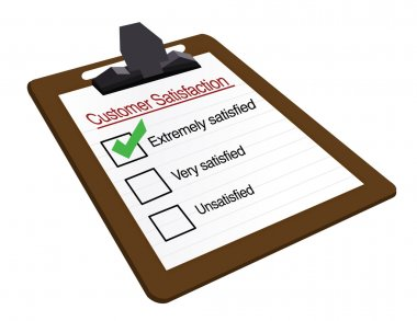 Customer Satisfaction clipboard survey isolated over a white background