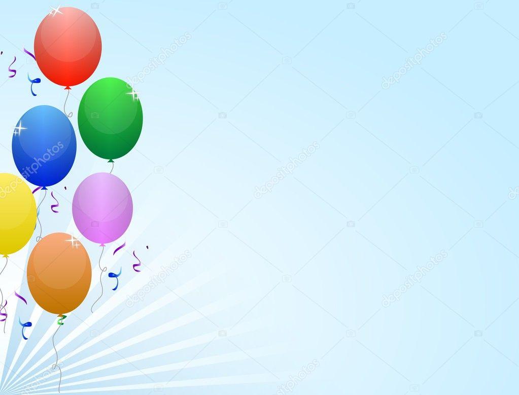 mehrfarbiger Ballon Rahmen mit Schleife und Konfetti auf einem ...