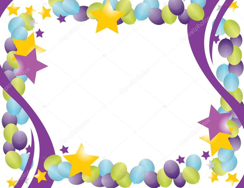Celebration balloon frame with stars isolated over a white background