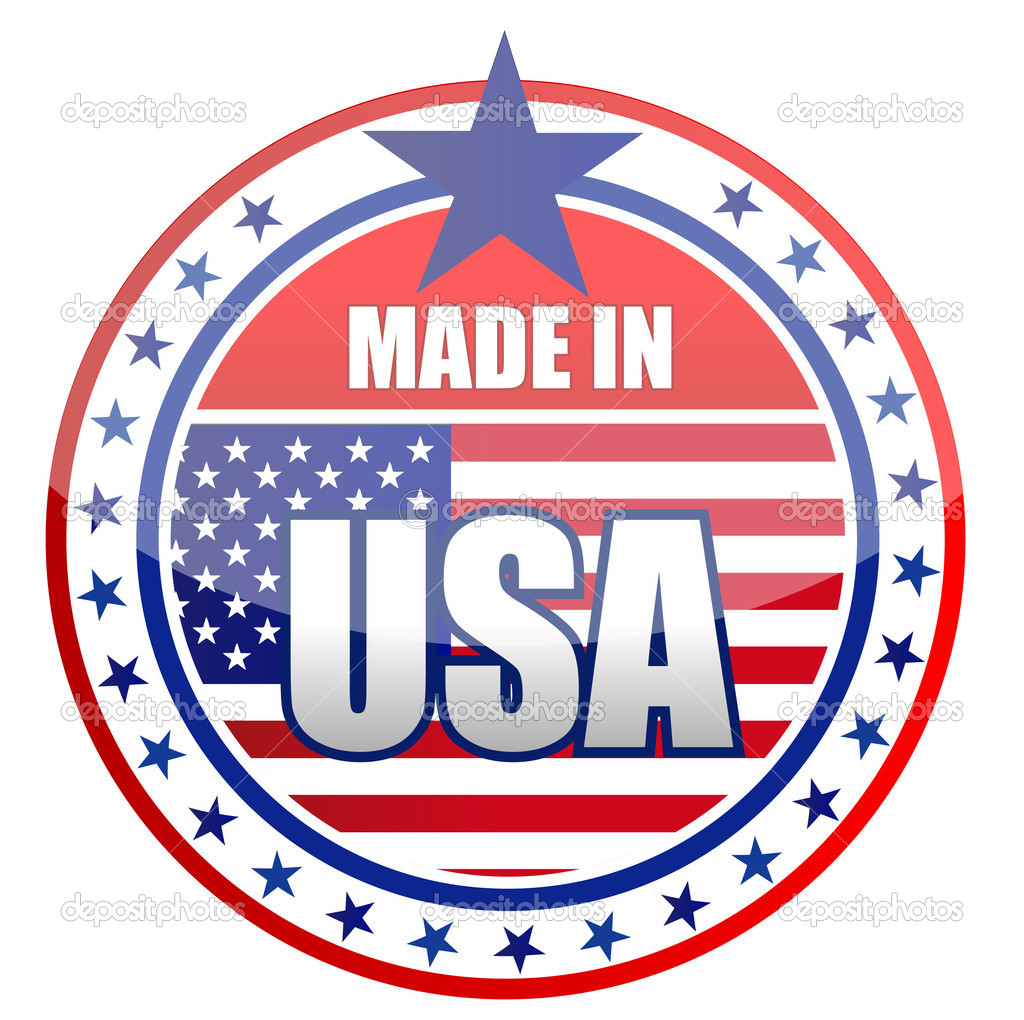Circular illustration made in USA stamp isolated over a white background.