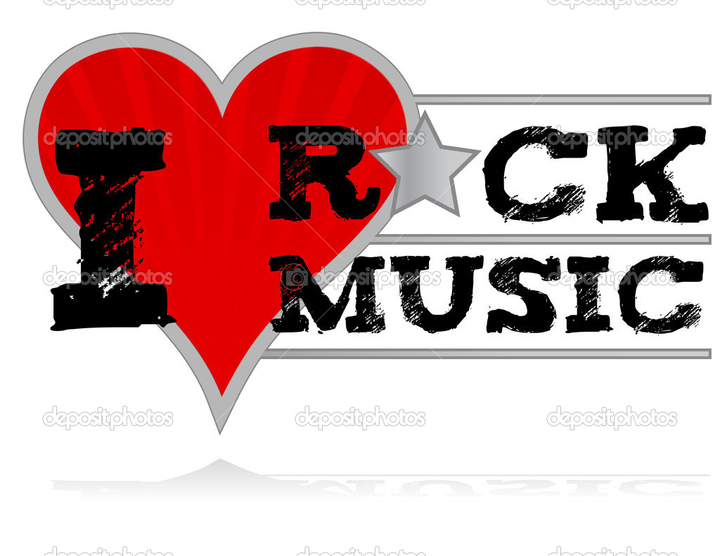 I love rock music design heart over a white background for I love to design