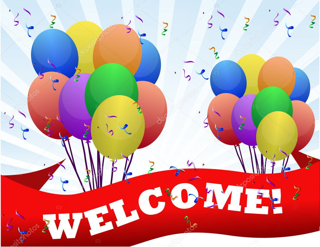Colorful Welcome balloons and banner illustration design