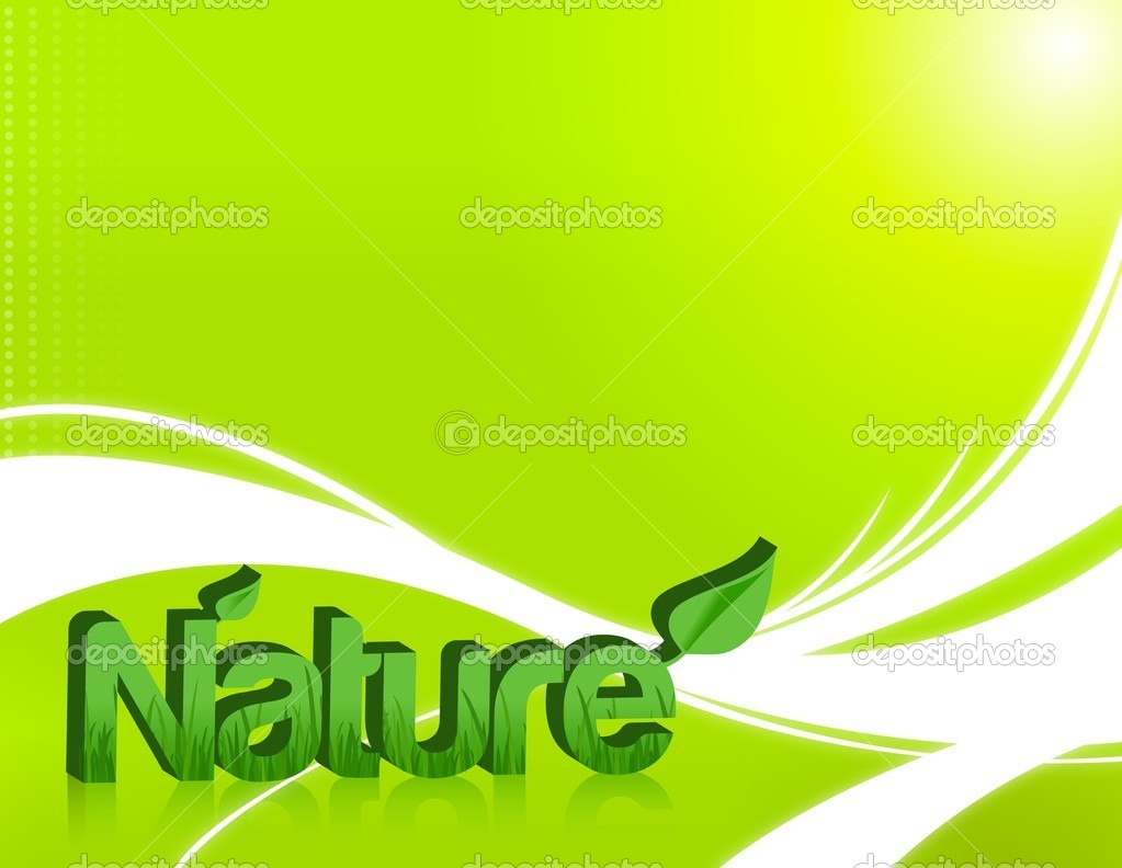 Nature word in 3d with grass inside and isolated over a light green backgr