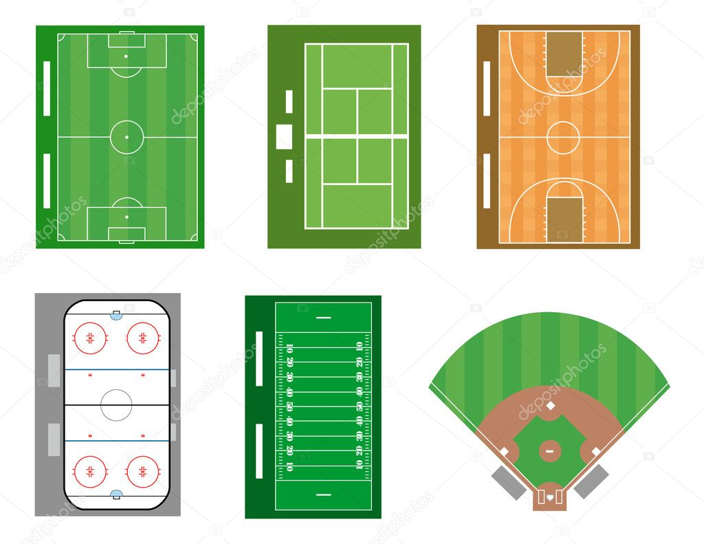 Set of sport fields and courts file also available.