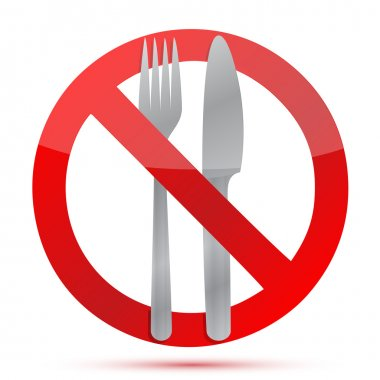 No food allowed sign over a white background