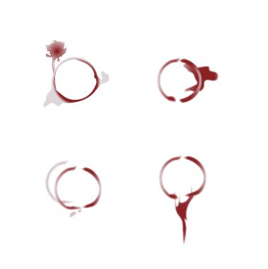 Close up of wine glass marks on white