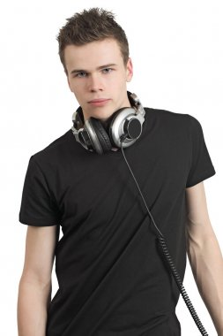 Teenager with stereo headphones