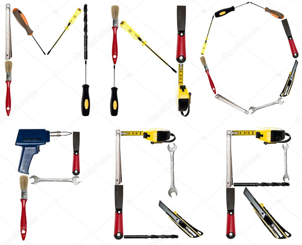 Letters made of hand tools stock photo fuzzbones 6239244 for Gardening tools 6 letters