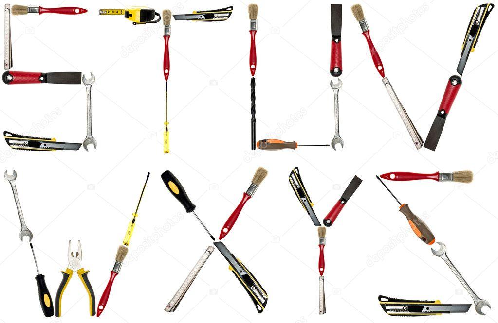 Letras de herramientas de mano foto de stock fuzzbones for Gardening tools 6 letters