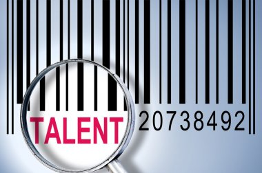 Talent under magnifyng glass on barcode stock vector