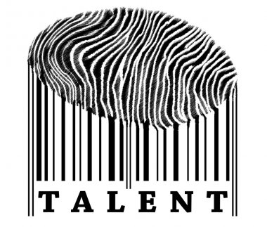 Talent on barcode with fingerprint stock vector