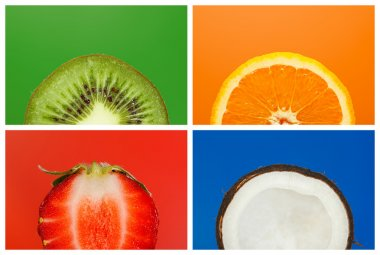 Collage of half fruits