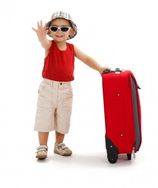 Child in sunglasses, waving with hand