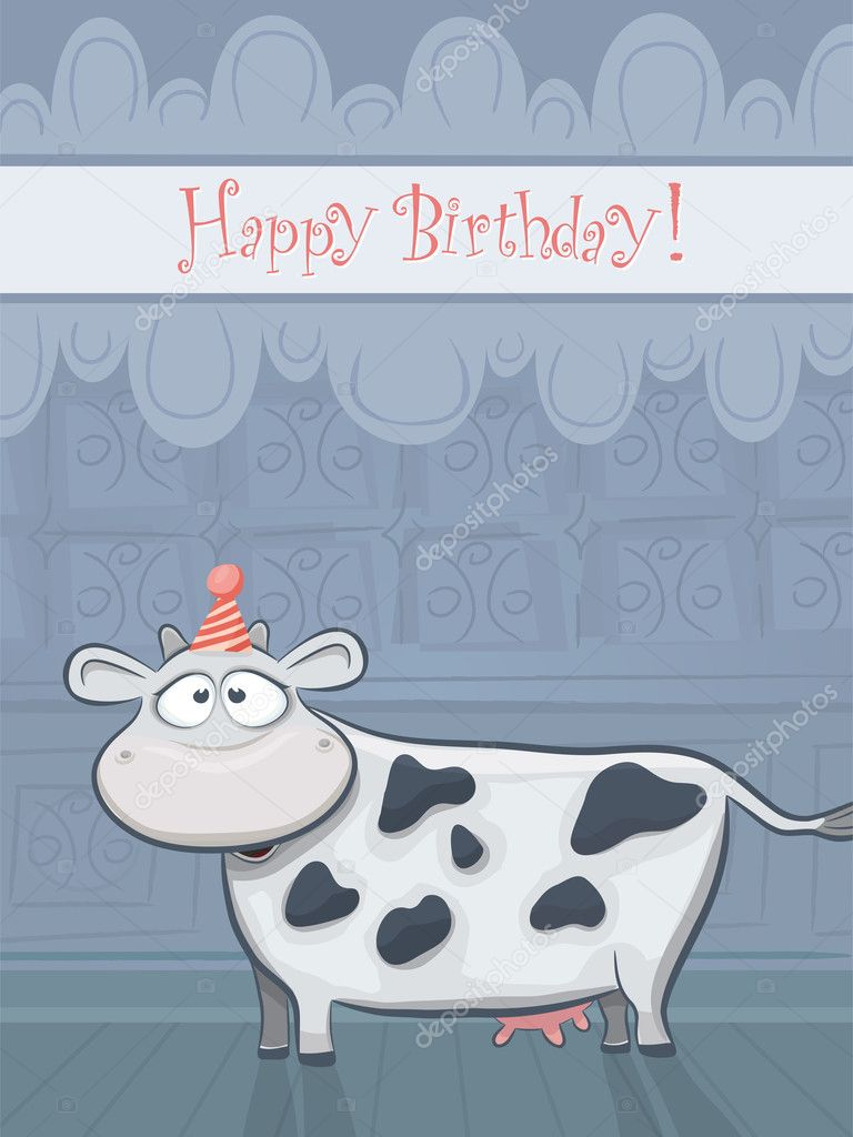 Animal Cards Series Vector Birthday Card With Funny Cow Stock