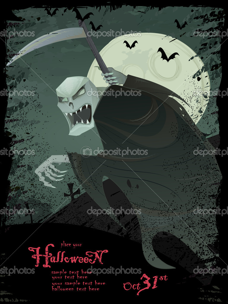 Vector Halloween grunge template with scary grim reaper — Stock ...